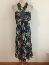 BCBG PARIS Silk Halter Empire Dress Sundress Navy Bronze Mustard Pale Blue Sz 10