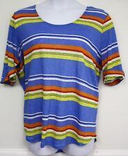 Ralph Lauren Shirt Blue White Yellow Red Orange Striped Summer Knit Top 3X 1X 2X