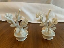 2 Vintage 1980 Fitz and Floyd White Flowers Place Card Holder