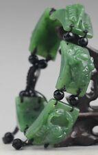 China natural hetian jade bangle Chinese green jade five poison beads Bracelet