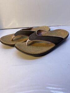 Women's Spenco Total Support Orthotic Flip Flop Sandals Straw/Java/Cork Sz 8