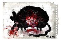 """Original JUSTIN AERNI circa 2021 PAINTING dark art macabre : """"DEAD RAT 3"""""""