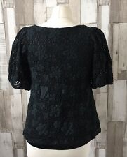 Lily J London Black Lace Puffy Sleeve Top Size 10-12