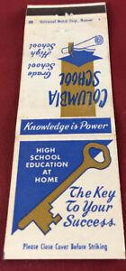 Matchbook Cover Columbia School Phoenix AZ High School Education At Home