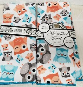 """Set of 2 SAME MICROFIBER KITCHEN TOWELS (15"""" x 25"""") FUNNY COLORFUL OWLS,blue, BH"""