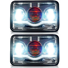 Red Demon 4x6 LED Headlights Sealed Beam Headlamp HID Xenon Replacement Pair