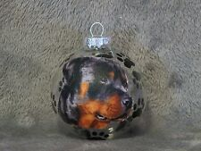 HAND MADE ROTTWEILER GLASS CHRISTMAS ORNAMENT / BALL