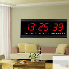 Digital LED Screen Wall Clock Watch Time Night Mode Indoor Thermometer US
