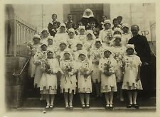 PHOTO ANCIENNE - VINTAGE SNAPSHOT - RELIGION FILLE COMMUNION CROISÉS FLEURS 1937