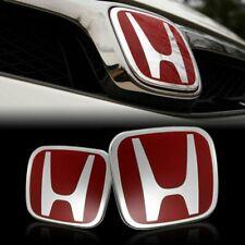 2PCS JDM Red H Front and Rear Emblem Badge For HONDA CIVIC 2006-2015 SEDAN 4DR