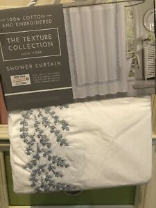 New Shower Curtain Embroidered Floral Border Cotton The Texture Collection White
