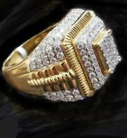 18K Gold Band OUT ICED Simulated Lab CLUSTER Diamond MICROPAVE Mens Pinky Ring