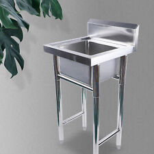 More details for 304 stainless steel floormount kitchen sink square single bowl drainer waste kit