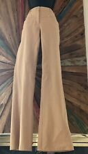 Escada Beige flare leg leather heart design at the back cotton pants Sz 40