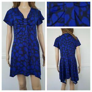 ❤️BM COLLECTION blue black ruched A-Line shift dress size 12 1287