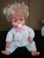 Vintage Tiny Tears Doll double top knots in tiny tears pyjamas with dummy