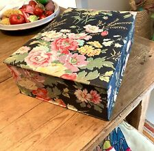 Gde Boite De Couture En Tissu Ancien 1900/1930 Antique Fabric Sewing Large Box