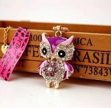 Hot Pendant Betsey Johnson  Jewelry Rhinestone purple Owl Chain Enamel Necklace