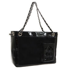 CHANEL CC Logos Chain Hand Tote Bag 10313090 Black Fur Patent Leather AK39001