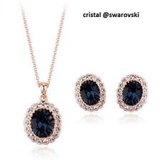 Bijou parure collier pendentif boucles Swarovski® Elements bleu nuit top qualité