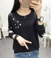 Women Long Sleeve Pullover Blouse O Neck Casual Shirt Cotton Tops Korean Fashion