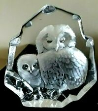 SIGNED M. Jonasson,  2 Owls, Etched Glass Sculpture Signature Collection #1658