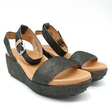 Gentle Souls Womans Morrie Ankle Strap Wedge Sandals Black Cushioned Sz 8.5M NEW
