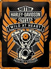 Harley Davidson Motorcycles Engine Wild At Heart Large 3D Metal Embossed Sign