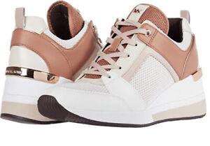 Nib Michael Kors Georgie Trainer Scuba/ Net Wedge Sneaker Soft Pink Size 6
