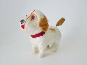 Vtg happy & cheerful mohair wind up toy puppy terrier dog tail spins Hong Kong