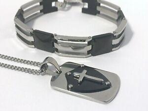 Men's Stainless Steel Bracelet and Pendant Necklace Set