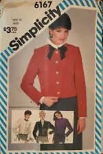 Vtg Simplicity pattern 6167 Misses' Jacket with embroidery transfer sz 12 uncut