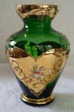 VINTAGE MURANO ITALIAN EMERALD GLASS VASE 18K GOLD & ENAMELED FLOWERS