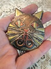 Vtg Large Cat Pin Brooch Sterling Silver