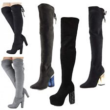 Womens Over the Knee Boots Long Party Stretch Perspex Clear Spike Platform Heel