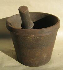 Rare Antique Apothecary Cast Iron Mortar and Pestle Rounded Bottom Apothecary Rx