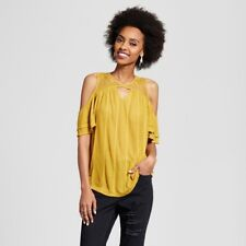NEW Women's Cold Shoulder T- Shirt  Xhilaration Yellow Size S