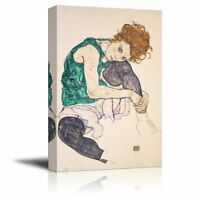 "Seated Woman With Bent Knee by Egon Schiele - Canvas Print Wall Art - 16"" x 24"""