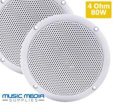 "Marine grade Moisture Resistant Speakers 80W 4Ohm 5"" White Gloss Bathroom Boat"