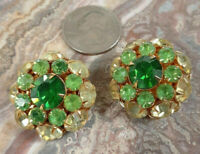 Vintage Signed Judylee Judy lee Green Rhinestone Earrings Gold Tone