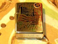 A New Windproof Flame ZIPPO USA Lighter 260 Fuzion Flag Stars & Strips HP Chrome