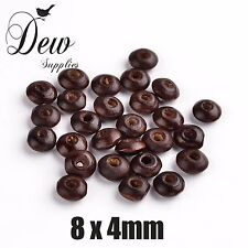 150 x Wood Beads Round, Dyed, Brown, about 7x6mm Wooden Bead Ball Spacer
