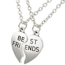 NEW BEST FRIEND Heart Silver Tone 2 Pendants Necklace BFF Friendship Puzzle