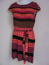 Guess Los Angeles black pink orange striped dress size 12 slinky stretchy