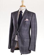 NWT $5440 TOM FORD 'Base Buckley' Gray Plaid Soft Wool Suit Slim 38 R (Eu 48)