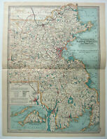 Original 1897 Map of Eastern Massachusetts by The Century Company. Antique
