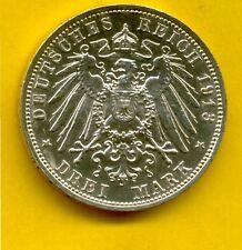 3 Mark Sachsen Völkerschlachtdenkmal 1913 E Silber Kaiserreich (3354)