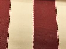 Burgundy / Ivory 600 Denier Striped Waterproof Outdoor Fabric -  Sold By The Ya
