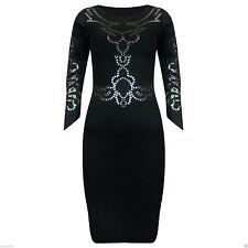 Women's Petite Scoop Neck 3/4 Sleeve Stretch, Bodycon Dresses