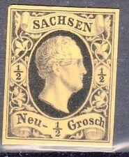 Saxony, Sc#3, VF NG, 1/2 Ngr Black Proof on Yellow tinted card, Mi#3P2, *RARE*